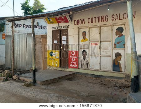ZANZIBAR, TANZANIYA- JULY 12: dhow cutting salon in village on July 12, 2016 in Zanzibar