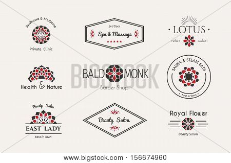 Asian health and beauty logo templates set. Vector ethnic ornamental design for beauty salons, spa, massage, barber shops, saunas, healthcare and medicine.