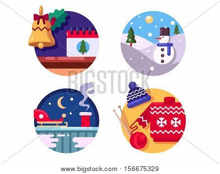 Christmas knitted sweater and sleigh. Winter fun holidays. Vector illustration