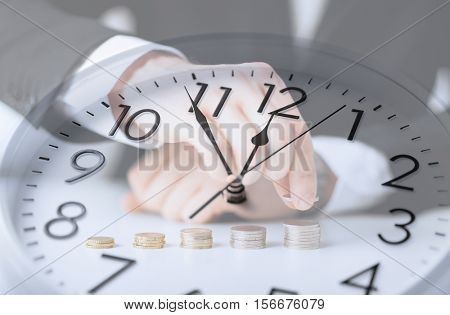time, business, money making, people and finance concept - clock over businessman counting euro coins with double exposure effect
