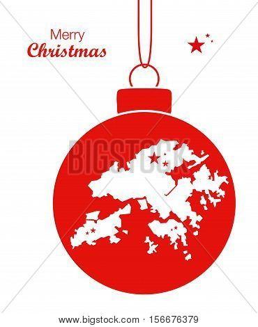 Merry Christmas Illustration Theme With Map Of Hongkong