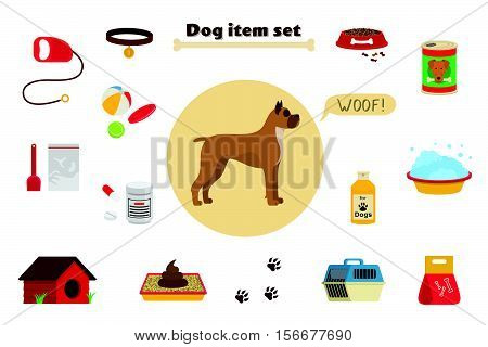 Dog items set care object and stuff. Elements around the dog. Vector cartoon illustration with food, care stuff, kennel, collar, transportation and dog walking