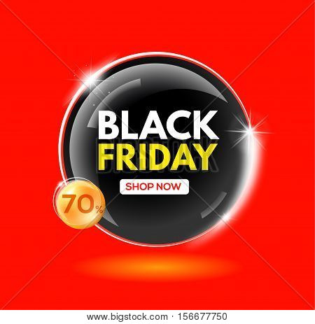 Black Friday sale soapy bubble. Discount 70%. Sale and discount. Vector illustration