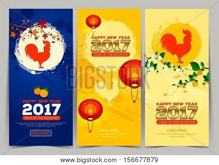 Three vertical banner Chinese New Year 2017. Celebration New year background. Chinese Spring Festival. Vector illustration