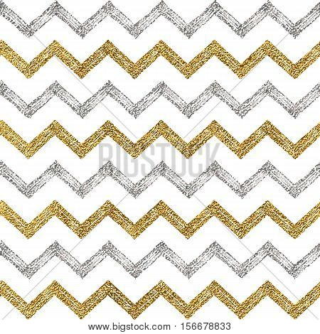 Seamless pattern of silver gold zigzag chevron, seamless background of zig zag stripe, hand painted vector pattern for textile, wallpaper, web, wrapping, save the date, wedding, card, paper