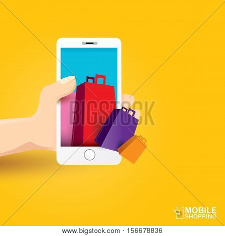 Online mobile shopping concept background. vector mobile marketing and commerce background.