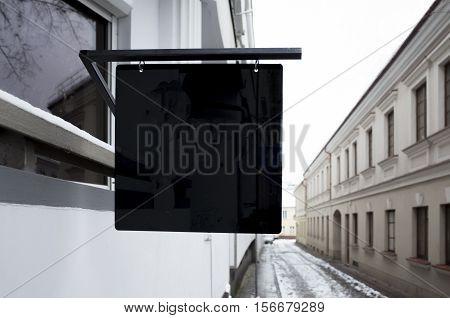 Signboard shop. Mock up Square shape. Oldtown view