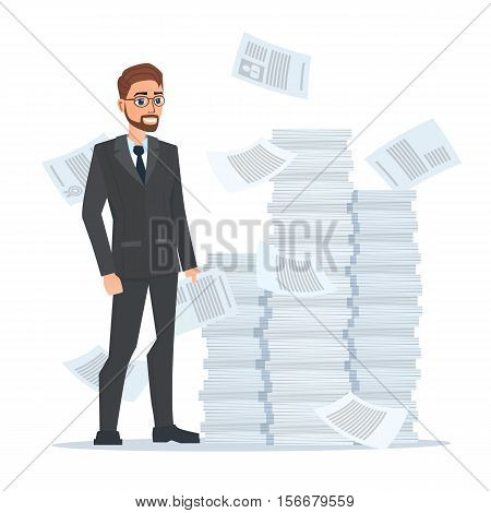 Paperwork and overworked, of an employee engaged in work with documents on the background large stacks of papers. Business concept. Vector illustration isolated on white background in flat style.