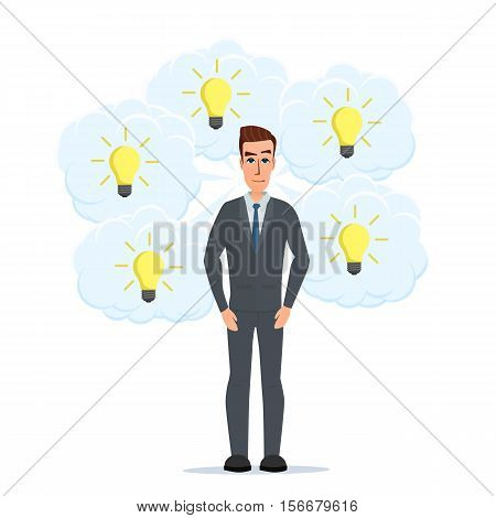 Businessman thinks a lot of ideas in the form of lamps. Business cartoon concept. Vector illustration isolated on white background in flat style.