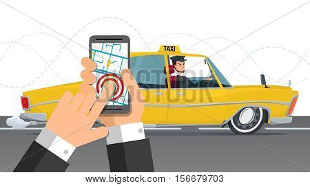 Taxi service. Smartphone and touchscreen, city. Business cartoon concept. Vector illustration isolated on white background in flat style.