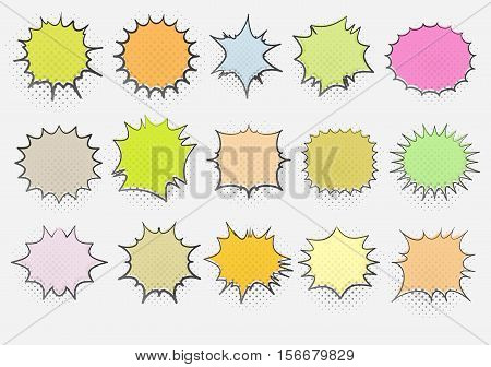 Set of 15 templates colorful speech bubbles in pop art style. Elements for design of comic books. Vector illustration