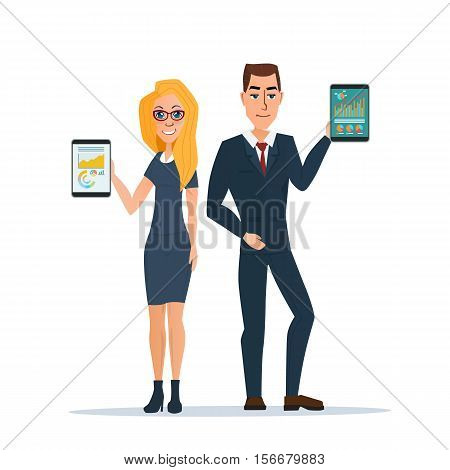 Businessman and business woman holding a tablet with growing graph. Business concept. Vector illustration isolated on white background in flat style.
