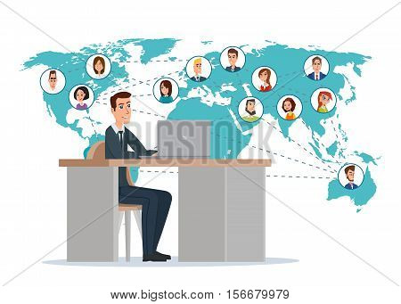 businessman connected with his friend around the world. Business concept. Vector illustration isolated on white background in flat style.