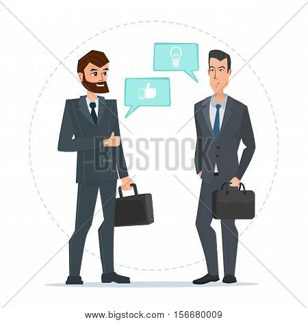 Two businessmen standing, talking, discussing negotiating. Business cartoon concept. Vector illustration isolated on white background in flat style.