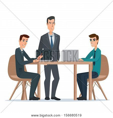 Business man entrepreneur in a suit working on a laptop computer at his clean and sleek office desk. Vector illustration isolated on white background in flat style