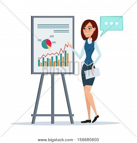 Business woman giving a presentation speech showing marketing and sales data. Modern Vector illustration isolated on white background in flat style.