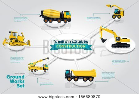 Graphical isometric layout themed construction machinery. Collection of heavy machinery for construction of houses, roads and industrial buildings. Earthworks Sales Offer infographics yellow vectors.