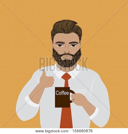 businessman or office worker holding a cup of coffee, cartoon stock vector illustration