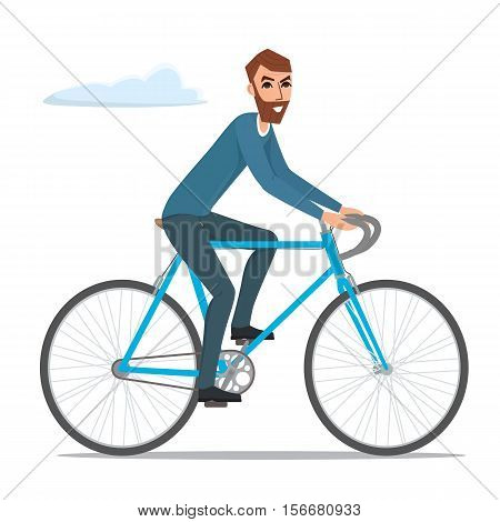 Bicyclist rider hipster man with bike bicycle illustration isolated on white background in flat style