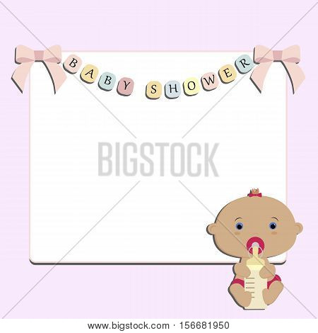 Cute baby pink background with white square frame. Baby girl sitting. Pattern for decoration or holiday decoration. Baby shower or arrival. Baby vector illustration
