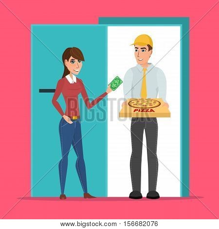 Pizza delivery boy handing pizza box to a beautiful girl at her home. Vector creative color illustrations flat design in flat modern style. Woman giving money for her order.