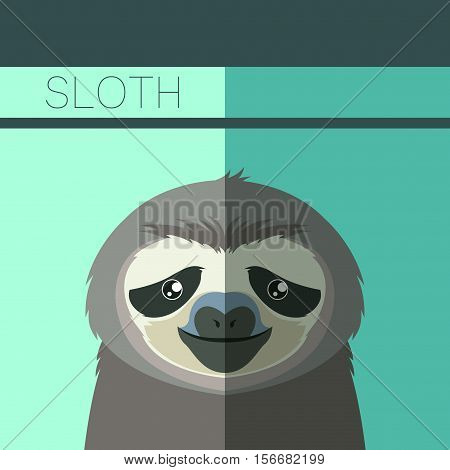 Vector image of the Flat postcard with Sloth