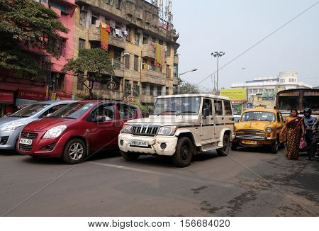 KOLKATA, INDIA - FEBRUARY 09: Cars stopped at a pedestrian crossing in Kolkata, India on February 09, 2016.