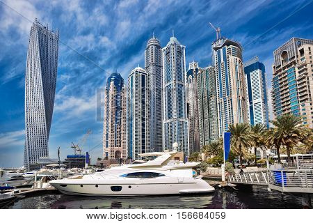 Dubai Marina With Boats In Dubai, United Arab Emirates, Middle East