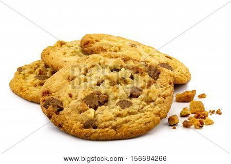 Pile of milk chocolate almond cookies on white background