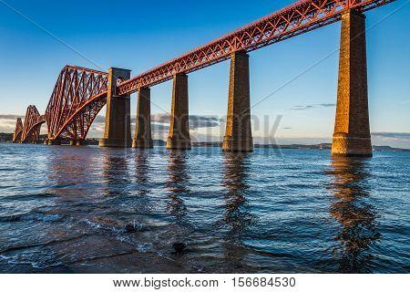 Steel Bridge in Scotland and sunset in summer