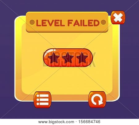 Game UI. Interface game design. Level failed screen. Vector illustration for your design