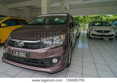 Labuan,Malaysia-Nov 15,2016:View of new cars at new car showroom in Labuan island.Labuan registered vehicles with engine capacity from 2,501cc and above would require bank guarantee of 50 percent