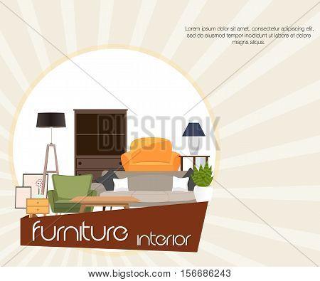 Furniture interior. Different furniture. Vector. Sets of furniture