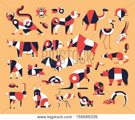 Animals - set of modern vector flat design icons and pictograms. Cat, dog, pig, cow, bear, bat, insect, fish, bird rodent kangaroo goat rat turtle