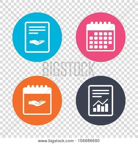 Report document, calendar icons. Donation hand sign icon. Charity or endowment symbol. Human helping hand palm. Transparent background. Vector