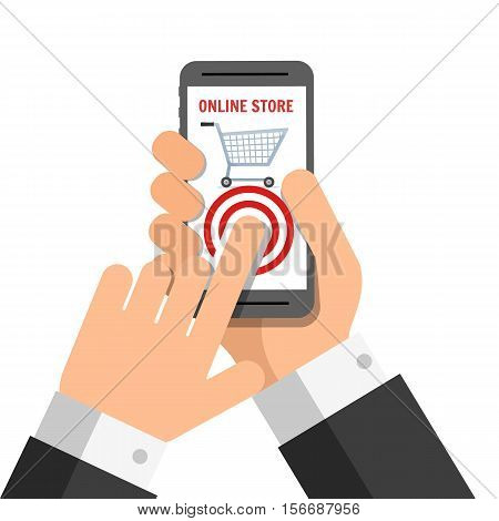 Hand holing smart phone with buy button on the screen. Using mobile smart phone for online purchasing. Business concept. Vector illustration isolated on white background in flat style.