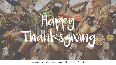 Thanksgiving Blessing Celebrating Grateful Meal Concept