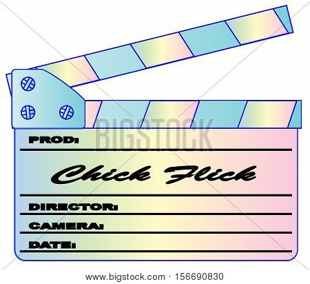 A typical movie clapperboard with the legend    isolated on white.