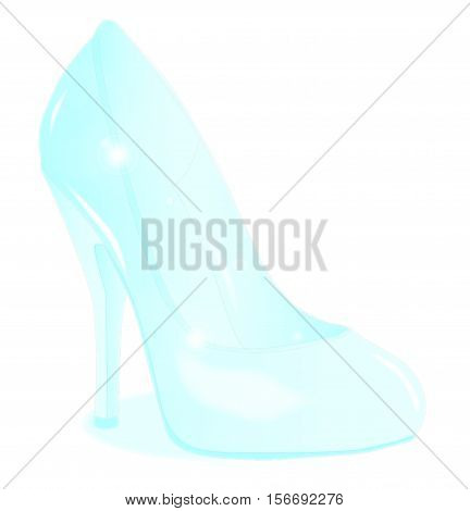 A glass see through stiletto heel shoe isolated on a white background
