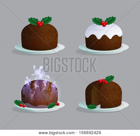 Traditional Catholic Christmas pudding on the plate illustration set with sugar icing, berries an leaves, flaming sauce, cut and uncut.