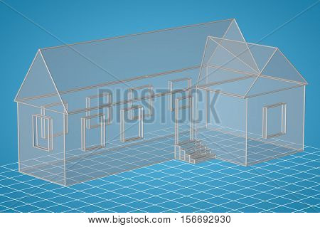 skeleton of simple transparent house. 3d computer generated