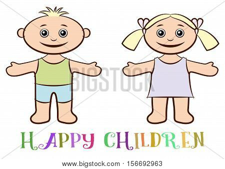 Cartoon Peoples, Set of Happy Children, Funny Little Boy and Girl, Standing with Arms Wide Open and Smiling, Drawing in Pastel Colors, Isolated on White Background. Vector