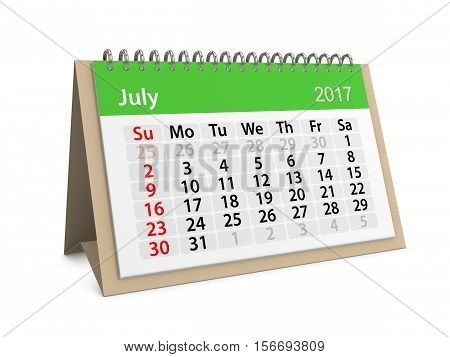 Monthly table calendar for July 2017. 3d illustration