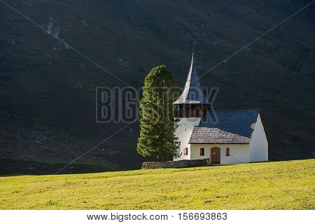 Mountain Chapel With Sunshine