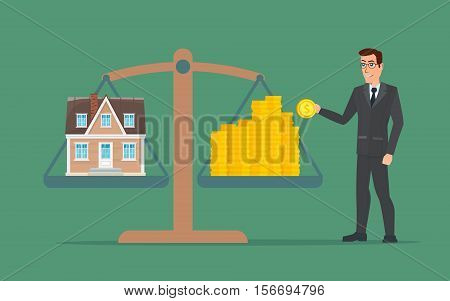 Businessman holding house on money, man collects money for a house and weighs in the balance. Business cartoon concept. Vector creative color illustrations flat design in flat modern style.