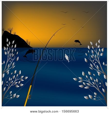 The picture evening fishing. Sunset srolntsa. Jumping dolphins. Entrapment fish. Spinning, Rod. On the horizon, the birds. Ocean, sea, bay