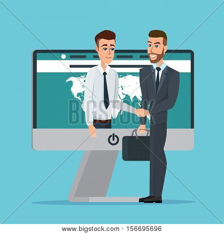 Business dealing. Handshake business through the screen. Businessmen negotiation. Telecommunication. Business cartoon concept. Vector creative color illustrations flat design in flat modern style.