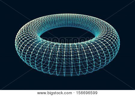 Torus from the grid and dots on a dark background. Easy to use with no background.