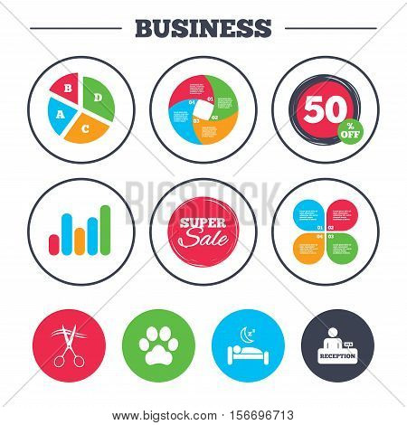 Business pie chart. Growth graph. Hotel services icons. With pets allowed in room signs. Hairdresser or barbershop symbol. Reception registration table. Quiet sleep. Super sale and discount buttons