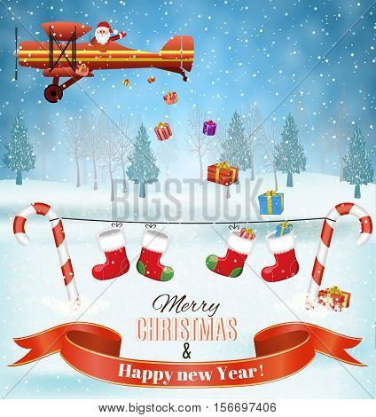 light plane with Santa claus fly over the forest, house, snowman and throws gifts . Christmas card, invitation, background, design template.